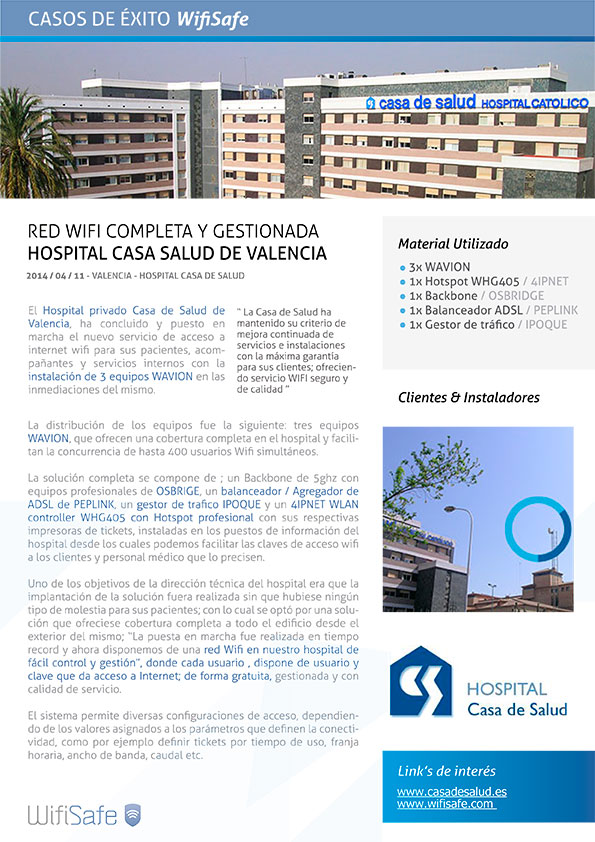 Red WIFI en Hospital Casa Salud de Valencia