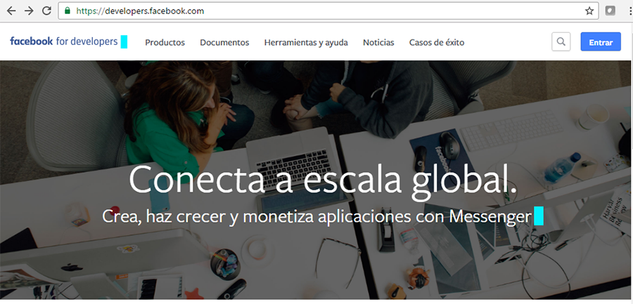 Acceso para developpers de Facebook