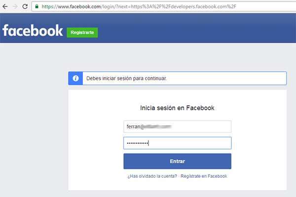 Login para developers de Facebook