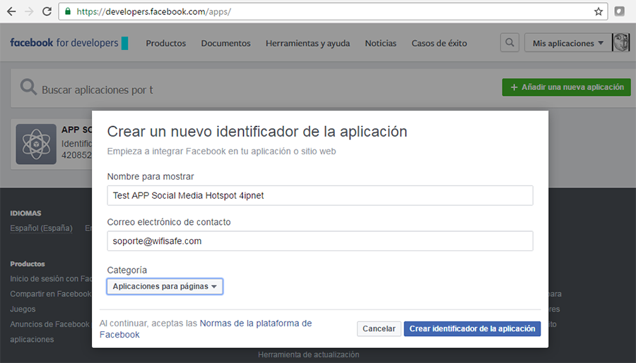 Creando el Identificador APP developers de Facebook