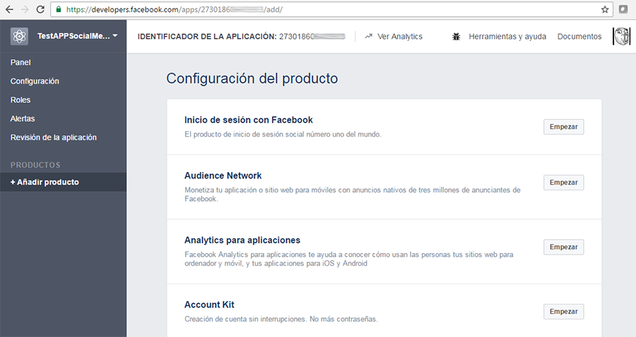 APP de Facebook developer creada