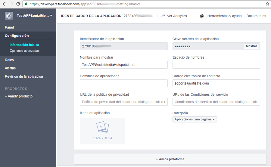 Añadir a la plataforma developers de Facebook