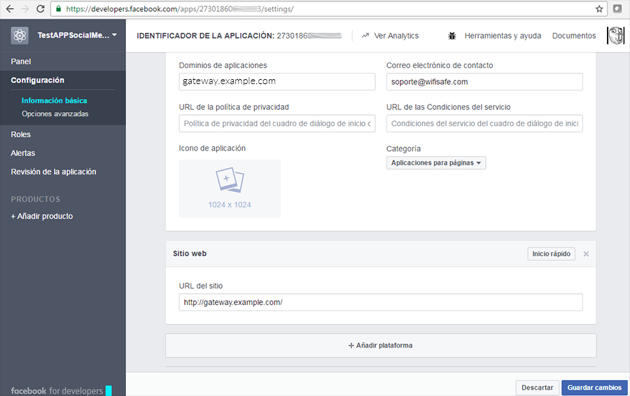 Añadir la URL del HotSpot WHG al sitio web de developers de Facebook