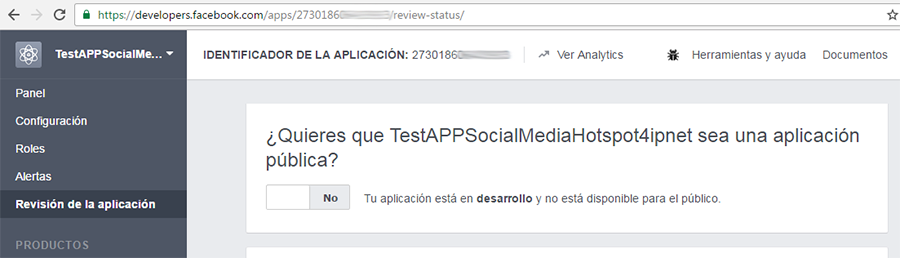 Publicar la APP en el sitio web de developers de Facebook (1)