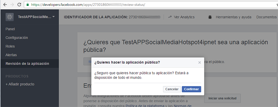 Publicar la APP (2) en el sitio web de developers de Facebook