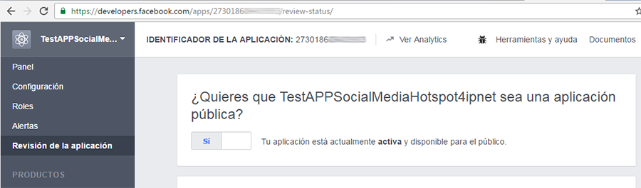 Publicar la APP en el sitio web de developers de Facebook (3)