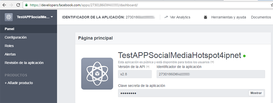 Obtener datos de acceso de la APP developers de Facebook