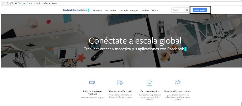 Acceso se realiza desde la url Developers facebook